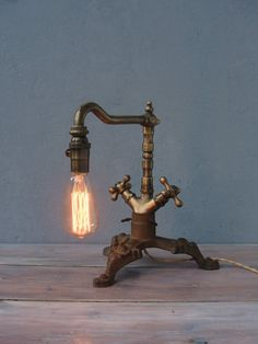 Steampunk Faucet Lamp, Industrial Table Lamp, Edison Lamp, Handmade Steampunk Lighting, Vintage Brass Faucet, Brass Pipe Plumbing