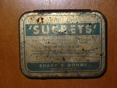 Sharpe Dohme. Antiseptic Throat Lozenges. Product details. Philadelphia. 24 Lozenges Size. 1930's - 1940's. Measurements:Appx: 3 x 2.5 inches. Item Condition:Pre-owned condition.