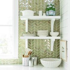Green Herringbone Tiles Backsplash By Ann Sacks