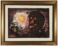 Lot# 1169 Rufino Tamayo (1899-1991 Mexican) ''El Brindis'', color lithograph on paper under Plexiglas, image size: 15'' H x 21'' W, est: $1000/1500 *Price Realized: $1,250.00
