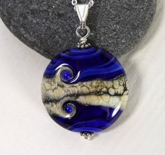 Cobalt Blue Glass Medallion with Sterling Silver, Glass Bead, Pendant, Lampwork Jewelry, Blue Glass, Swedish Handmade by MarianneDegener on Etsy