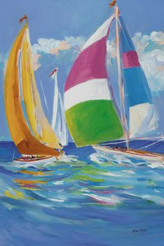Full Sail II by Jane Slivka Transportation Art Print - 10 x 15 cm Sailboat Art, Sailboat Painting, Sailboats, Sailboat Plans, Beach Art, Acrylic Art, Bunt, Landscape Paintings, Watercolor Paintings