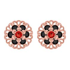 Lucia Costin Rose Goldplated Sterling Silver Red/ Black Earrings