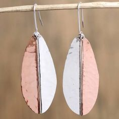 and copper dangle earrings, 'Rippling Leaves' - Leaf-Shaped Sterling Dangle Earrings Leaf Jewelry, Fall Jewelry, Leaf Earrings, Dangle Earrings, Sterling Silver Cuff Bracelet, Butterfly Pendant, Necklace Sizes, Leaf Shapes, Jewelry Packaging