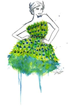 Peacock Cocktail Dress fashion illustration by Jessica Durant