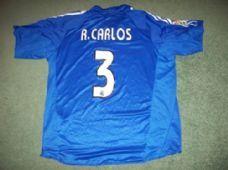 Real Madrid #3 Roberto Carlos Large Football Shirt 2004 2005 Brazil Camiseta