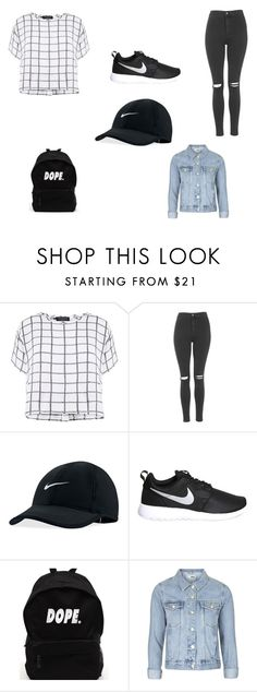 """School outfit"" by xjanobrox ❤ liked on Polyvore featuring Myne, Topshop and NIKE"