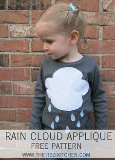 the red kitchen: Rain Cloud T-Shirt Applique (Free Pattern & Tutorial)