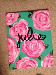 Customizable Name Canvas by HuesOfGrace on Etsy – Creative Canvas Easy Canvas Painting, Diy Painting, Painting & Drawing, Painting Flowers, Name Paintings, Kids Canvas, Blank Canvas, Name Art, Art Plastique