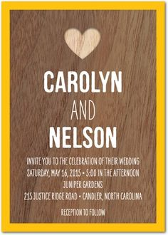 Signature White Wedding Invitations Wood Grain Love - Front : White
