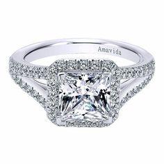Princess Cut Halo Engagement Ring with Split Shank by Gabriel & Co. #ER6322W83JJ