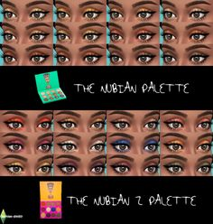(UNISEX) Juvia's Place 'The Nubian' palettes for TS4!Standalone UNISEX eyeshadow sets with swatches and custom thumbnail. DOWNLOAD NUBIAN 1 DOWNLOAD NUBIAN 2