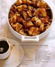Amaretto baked French Toast with Pecans