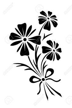 Vector Nero Silhouette Di Bouquet Di Tre Fiori Di Campo. Clipart Royalty-free, Vettori E Illustrator Stock. Image 54901420.