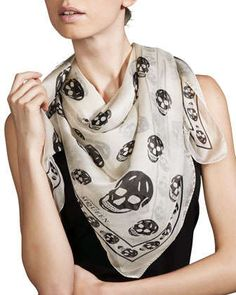 Skull-Print+Chiffon+Scarf+by+Alexander+McQueen+at+Neiman+Marcus.
