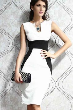 White+Black+Notched+Collar+Two+Tone+Party+Dress+#White+#Dress+#maykool