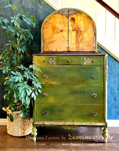 Spanish Olive, Turmeric, Foxtrot, and Madrid are what dreams are made of on this piece! The Paint Factory Old Furniture, Painted Furniture, Refinished Furniture, Furniture Projects, September Morn, Spanish Olives, Fall Color Palette, Wise Owl