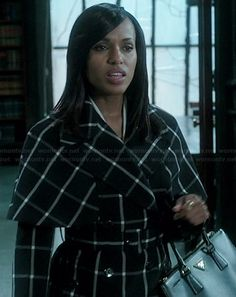 Olivia's black and white checked coat on Scandal.  Outfit Details: http://wornontv.net/39428/ #Scandal