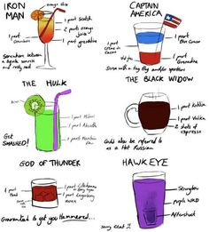 Avengers' Cocktails- perfect for any superhero party, adult of course!