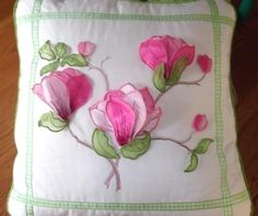"""""""Magnificent Magnolias"""" This applique set makes incredible pillows, napkin rings and wall hangings! Get blooming today! Be sure to check out the other sets in this series! Machine Embroidery Quilts, Machine Embroidery Projects, Hand Embroidery Patterns, Custom Embroidery, Embroidery Thread, Quilting, Embroidery Services, Fabric Crafts, Needlework"""