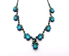 Teal Blue Painted Rhinestone Necklace - Teal Necklace, Blue Necklace, Black Necklace, Painted Rhinestones, Gift, For Her, Tom Binns