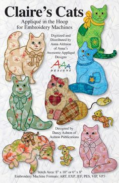 Digitized -- Claire's Cats -- Applique in the Hoop for Embroidery Machines -- Digitized Designs on Thumb Drive -- Baby Quilts Cat Applique, Applique Embroidery Designs, Machine Applique, Applique Quilts, Machine Embroidery, Cat Quilt Patterns, Applique Patterns, Quilt Book, Cat Template