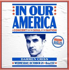 Don't miss your chance to see Emmy Award winner, @darrencriss and Tony Award winner, @karenolivo76 in tomorrow night's #InOurAmerica concert! #Vote2020 #BidenHarris2020