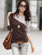Mujeres Redondo Color de manga larga cuello camiseta Contraste