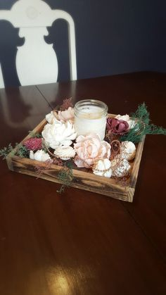 Wedding Centerpiece Wood Tray Candle Sola by StellaDesignsShop