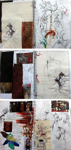 Fashion Sketchbook with observational drawings and mixed media explorations of trees, armoury, structure and fabric manipulation