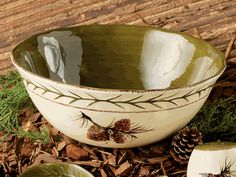 Pinecone Stoneware Serving Bowl