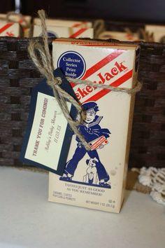 Sport themed baby shower favors. Vintage cracker jacks.