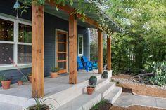 Concrete porch designs porch contemporary with wood columns gray siding concrete stairs Porch Wood, Concrete Porch, Concrete Stairs, Front Porch Columns, Farmhouse Front Porches, Rustic Farmhouse, Rustic Porches, Rustic Wood, Porch Entrance