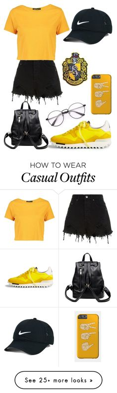 """Hufflepuff Casual"" by theatrekid24601 on Polyvore featuring NIKE, Ksubi, Boohoo and Golden Goose"