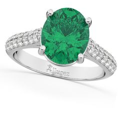 Allurez Oval Emerald & Diamond Engagement Ring 18k White Gold (4.42ct) ($5,870) ❤ liked on Polyvore featuring jewelry, rings, oval diamond ring, white gold rings, 18k diamond ring, engagement rings and diamond anniversary rings