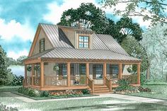 House Plan 110-00307 - An adorable Country Cottage Plan features a charming exterior with outstanding outdoor space and an interior with approximately 1,397 square feet of space. Three bedrooms, two baths and an open floor plan are highlighted on the home's interior.