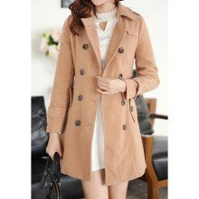 Modern Style Double-Breasted Long Sleeves Worsted Women's Coat