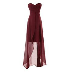 Diyouth Long Sweetheart Chiffon Bridesmaid Dresses Elegant Highlow Evening Gowns Burgundy Size -- Visit the image link more details. (This is an affiliate link) High Low Bridesmaid Dresses, Red Bridesmaids, Grad Dresses, Homecoming Dresses, Long Dresses, Dress Long, Bridesmaid Gowns, Long Gowns, Dress Prom