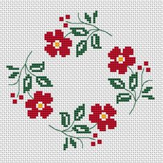 Newest Absolutely Free Cross Stitch flowers Style Cross stitch pattern for circular shaped napkins with beautiful repeating motif of red flowers. Small Cross Stitch, Cross Stitch Borders, Cross Stitch Charts, Cross Stitch Designs, Cross Stitching, Cross Stitch Embroidery, Embroidery Patterns, Cross Stitch Patterns, Cross Stitch Flowers Pattern