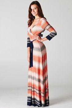 Orange/Navy Print Maxi - Catch Bliss Boutique; Gorgeous fall maxi dress!!