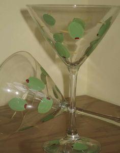 Painted Martini Glasses Unique Barware Gift by eviemdesignstudio, $32.00
