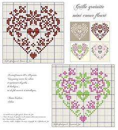 heart cross stitch pink and green St Valentine cross stitch