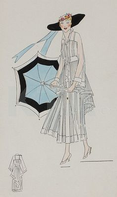 Four Lucile studio sketches, circa 1915-6, - by Kerry Taylor Auctions