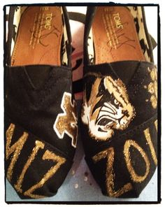 Mizzou Tigers Custom Toms by CustomTOMSbyJC on Etsy, $100.00...Hummm might be a little easier to do