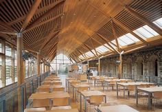 Norwich Cathedral Refectory and Hostry By Hopkins Architects – 09 Refectory Roof Beam, Timber Roof, Timber Buildings, Urban Architecture, Historical Architecture, Contemporary Architecture, Hopkins Architects, Norwich Cathedral, Restaurants