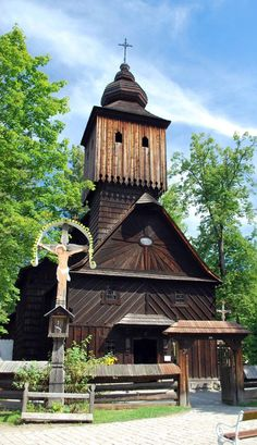 "Wooden church in Rožnov (Middle Moravia near ""Beskydy"" Middle-Mountains), Czech Republic. (Corrected by Stan Alexander) Russian Architecture, Sacred Architecture, Church Architecture, Old Country Churches, Old Churches, Beautiful Places In The World, Places Around The World, Prague, Heart Of Europe"