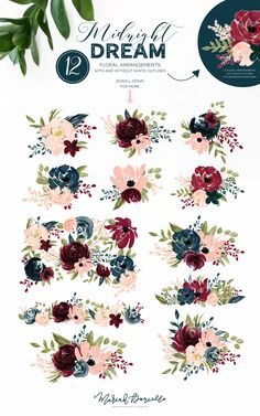 Burgundy & Navy Flower Graphic Set - Illustrations | Hand Drawn Floral Illustrations | DIY wedding invitations | Burgundy, Marsala, Maroon, Navy Blue, Blush Pink, Peach, Coral, Salmon | Floral Clipart | Fall Wedding clip art | Wedding Invitations | Watercolor Clipart | Watercolor Illustrations | Surface Pattern Design