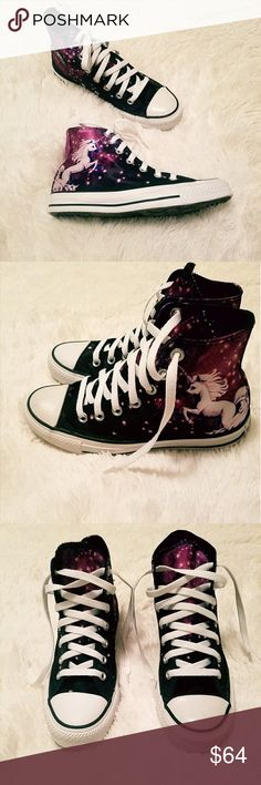 "☇Flash Sale Converse Chuck Taylor Unicorn Sneakers Brand new in box, never worn, super clean fronts, laces and soles  These limited edition shoes have a soft satin feel, with  a vibrant unicorn/galaxy print.  ""'The Unicorn Chucks from Converse All Star are out of this world. These majestic Unicorn Converse All Stars will turn heads with their brilliantly bold colors, hi-top style, unicorn print canvas upper, lace up front closure, and signature Converse rubber sole."" Converse Shoes Sneakers"