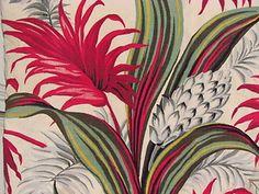1930s South Beach palms vintage barkcloth