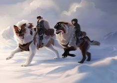 Travelling Companions by sealle on DeviantArt Fantasy Wolf, Fantasy Beasts, Fantasy Art, Creature Concept Art, Creature Design, Animal Sketches, Animal Drawings, Magical Creatures, Fantasy Creatures